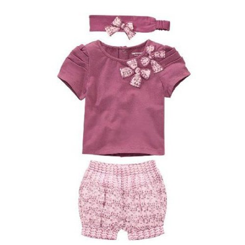 Cm-Cg Kids Clothes 3 Pcs Set Baby Girl T-Shirt Headdress And Shorts 4T front-852915