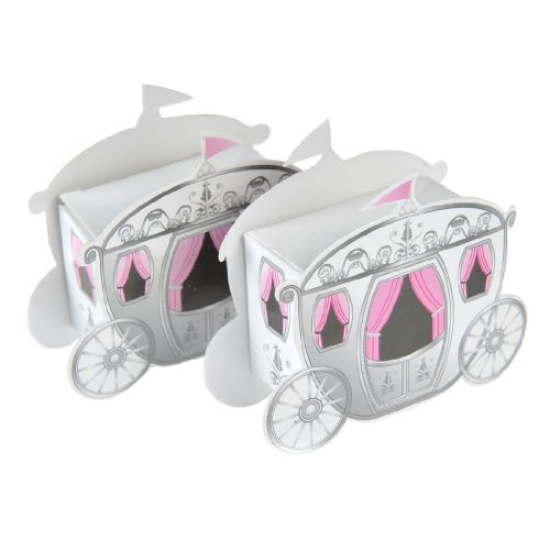 Artwedding Enchanting Carriage Design Wedding Favor Box (Set of 24),White