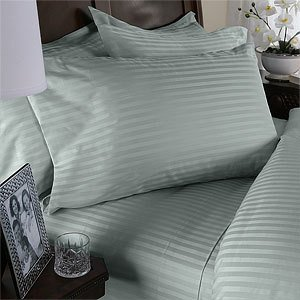 7PC California King Sage Stripe 1200 Thread Count