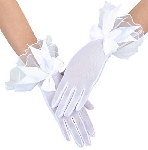 Womens Bridal Wedding Short Gloves with Lace Bowknot White