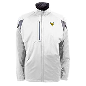 West Virginia Mountaineers NCAA Highland Mens Full Zip Sports Jacket (White) by Antigua
