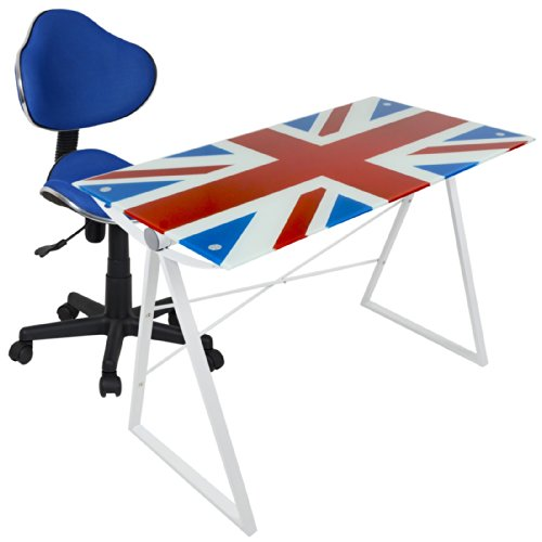 British Union Jack Glass Top Table Desk & Blue Office Computer Chair Seat Set