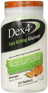 Dex4 Glucose Tablets, Natural Orange, 50 Count