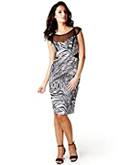Per Una Speziale Cotton Rich Zebra Print Bodice Bodycon Dress