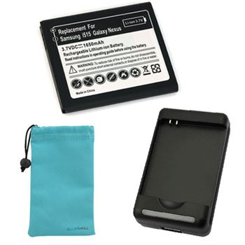 GTMax Standard Lithium-Ion Battery (1650mAh) + Battery Charger + Blue Universal Microfiber Pouch Case for Samsung Galaxy Nexus Prime i515 LTE (CDMA), GALAXY Nexus Sprint