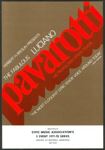 Luciano Pavarotti Flyer Bushnell Hartford Ct 1977-8