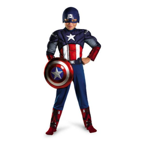 Avengers Boys Glow in the Dark Muscle Captain America Costume with Mask