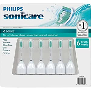 Philips Sonicare Toothbrush e Series Heads Fits: Advance, Clean Care, Elite, Essence, Xtreme - 6 Pack