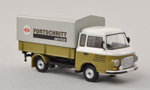 Barkas-B-1000-Pritsche-Fortschritt-Service-PP-LKW-Modellauto-Fertigmodell-Brekina-187