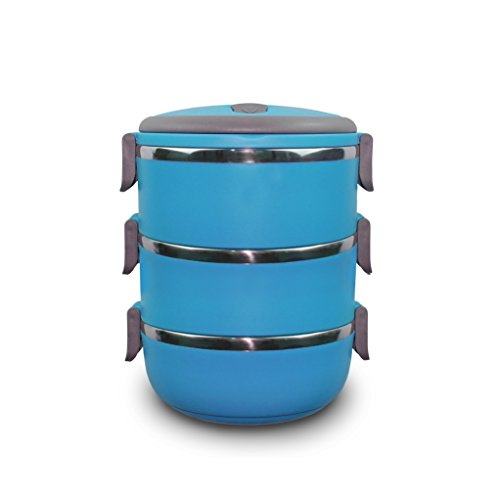 bento lunch boxes stainless steel stackable compartments three tier hot n cold ebay. Black Bedroom Furniture Sets. Home Design Ideas