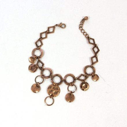 Womens Brown Metal Bracelet with Dangling Rings (Copper Color)