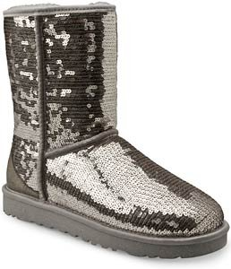 Rev UGG Classic Short Sparkles Boots - Silver - Womens 10