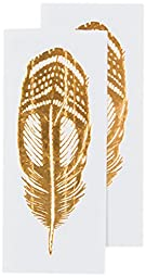 Tattly Temporary Tattoos, Quail Feather/Gold, 0.1 Ounce