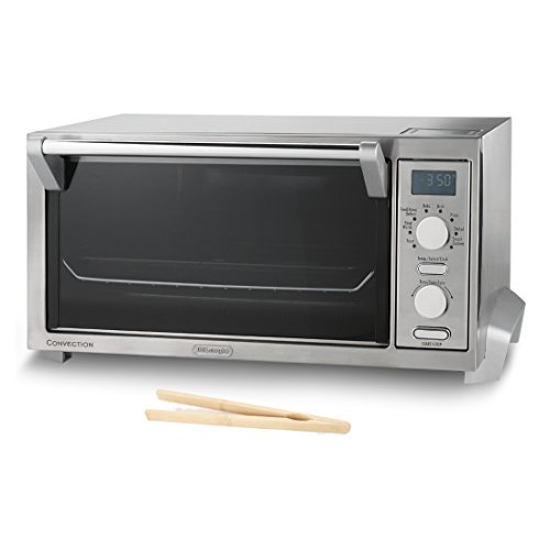 DeLonghi Brushed Stainless Steel Pizza Convection Oven with Free Bamboo Toast Tongs (Delonghi Small Oven compare prices)