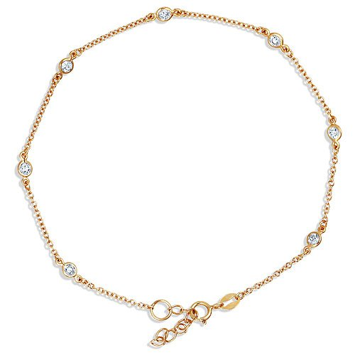 14K Gold Vermeil Cubic Zirconia CZ By the Yard Anklet Bracelet
