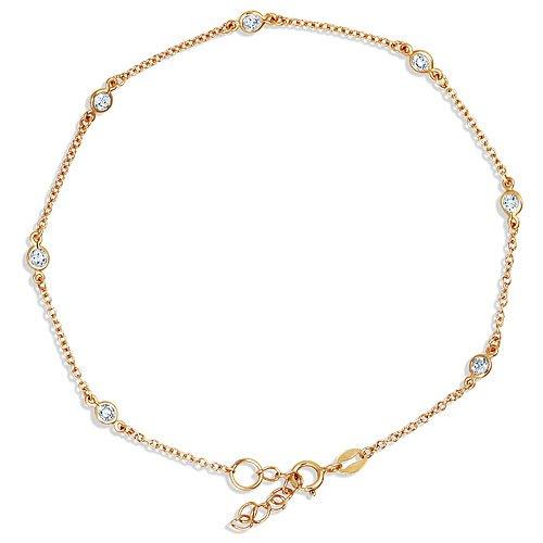 14K Gold Vermeil Cubic Zirconia CZ By the Yard Anklet Bracelet