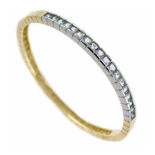 Vermeil (24K Gold over Sterling Silver) and Sterling Silver Two Tone Channel Set Lavender cz Bangle