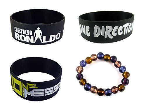 eshoppee ronaldo messi one direction wrist band combo