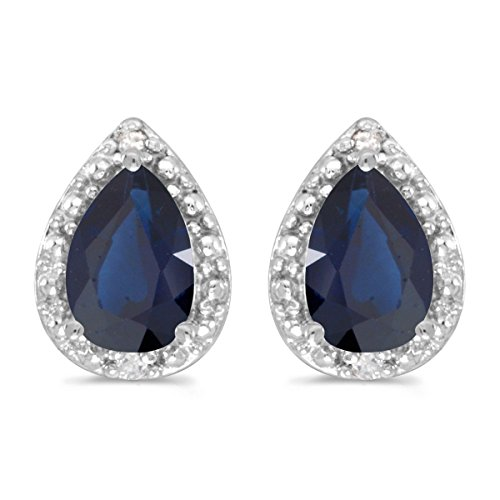 14k-White-Gold-Pear-Sapphire-And-Diamond-Earrings