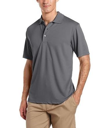 PGA TOUR Men's Short Sleeve Airflux Solid Polo Shirt, Asphalt, Medium