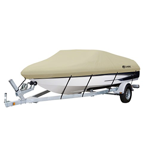 Classic Accessories DryGuard Waterproof Boat Cover, Tan, Fits 16' - 18.5' L x 98