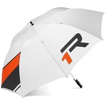 TaylorMade Apollo Double Canopy Golf Umbrella, White/Gray/Orange