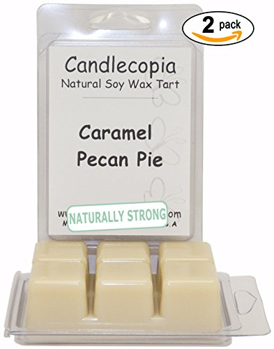 Candlecopia Caramel Pecan Pie 6.4 Oz Scented Wax Melts - Fresh Baked Caramel Pecan Pie With Hints Of Coconut, Cocoa, Vanilla, And Butter Rum! - 2-Pack Of Naturally Strong Scented Soy Wax Cubes Throw 50+ Hours Of Fragrance When Melted In Scentsy®, Yankee C
