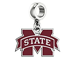 Mississippi State Bulldogs Logo and Color Dangle Fits All Pandora Style Charm Bracelets