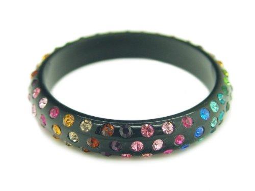 Baby Austrian Crystal Lucite Bangle Bracelet-BLACK MULTI STONE