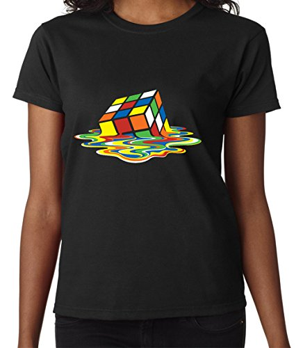 Melted Rubic Cube The Big Bang Theory Famous Design Women Donna Black T-shirt