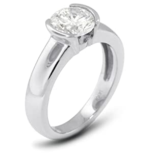 3.20 CT Exc-Cut Round H-VVS2 GIA Cert Diamond 18k Gold Tension Solitaire Engagement Ring 6.07gr