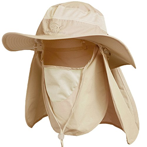 Ddyoutdoor™ 07-281 Fashion Summer Outdoor Sun Protection Fishing Cap Neck Face Flap Hat Wide Brim (Khaki)