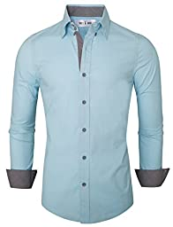 Tom\'s Ware Mens Premium Casual Inner Contrast Dress Shirt TWNMS314S-SKYBLUE-XL (US L)