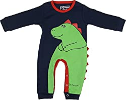 Lil Penguin Baby Boys' Cotton Romper (LP09B4, Blue and Green, 6-9 months)