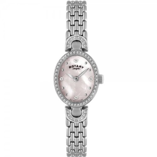 Rotary LB02824-07 Ladies Stone Set Pink MOP Dial White SS Bracelet Watch