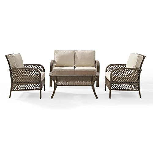 Tribeca 4 Piece Deep Seating Group Outdoor Patio Conversation Set   UV  Protection Wicker Rattan Steel Frame Furniture   High Grade Waterproof Fade  Resistant ...