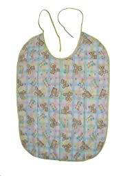 Baby Bib for Adult Sized Messy Eaters, Vinyl Honey Bear Print with Terry Lining