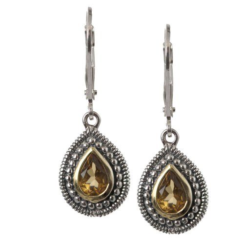 14k Gold Plated Sterling Silver Pear Shape Citrine Fashion Drop Earrings