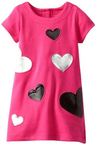 Nannette Little Girls' 1 Piece Metallic Heart Dress, Pink, 2T