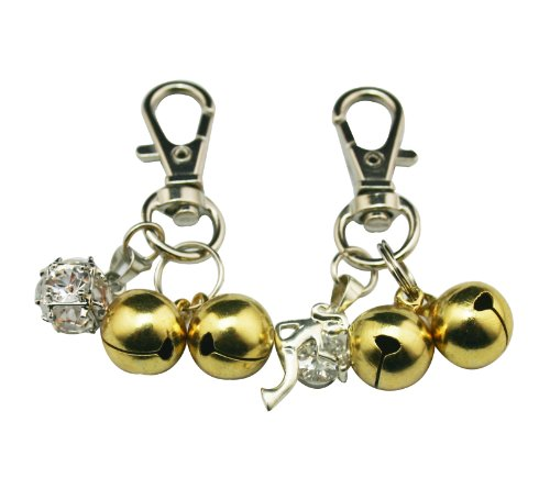 Chuzhao Wu Lovely Warner Small Gold Colored Pet Bells Charm Bright For Dog / Cat Collar (Pack Of 2)