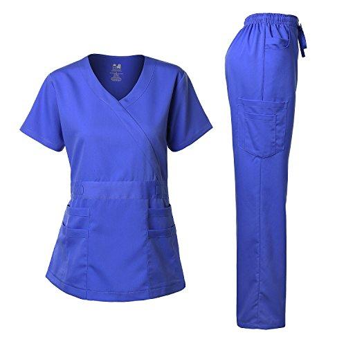 Dagacci Medical Uniform Women's Scrub Set Stretch and Soft Y-Neck Top and Pants aamir al mosawi medical journals editorship and medical editing