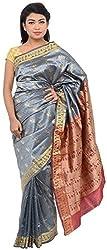 Monash Creations Baluchari Silk Saree Grey Base With Maroon and Golden For Women