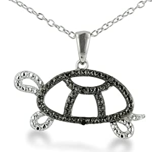 Black Diamond Turtle Necklace in Sterling Silver