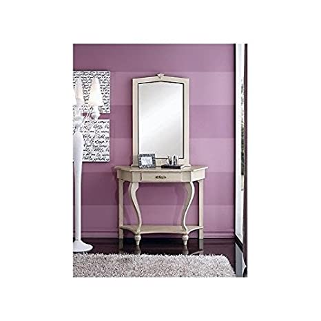 Console Table Mirror Lacquered Ivory Solid Wood–As Photo