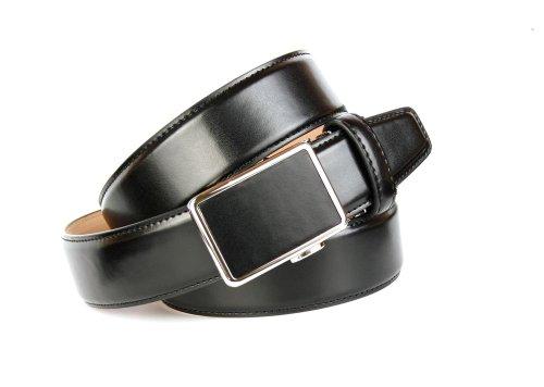 Anthoni Crown, ceinture en cuir homme 3,5cm largeur, classique noir uni cba12b95beb