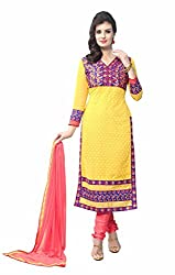 R K Exports Georgette Embroidered Semi-stitched Salwar Suit Dupatta Material