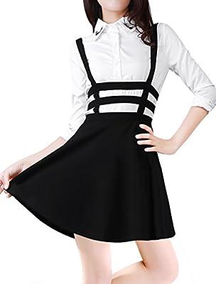 Allegra K Lady Elastic Waist Zip Back Cut Out Detail Suspender Skirt