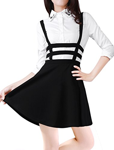 Allegra K Lady Elastic Waist Zip Back Cut Out Detail Suspender Skirt Black L