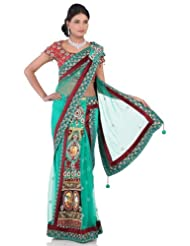 Chhabra555 Green Net One Minute Saree - B00J4RP0HS