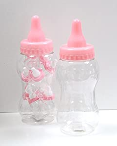 large pink plastic baby bottle container great wedding favours